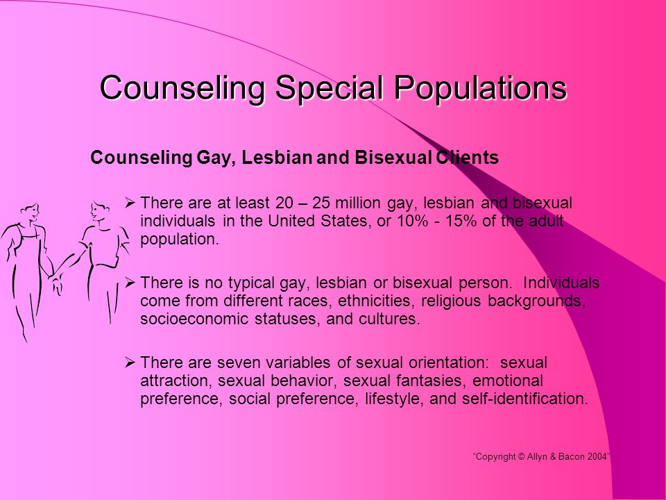 Counseling Special Populations Counseling Gay, Lesbian and Bisexual Clients  There are at least 20 – 25 million gay, lesbian and bisexual individuals in the United States, or 10% - 15% of the adult population.