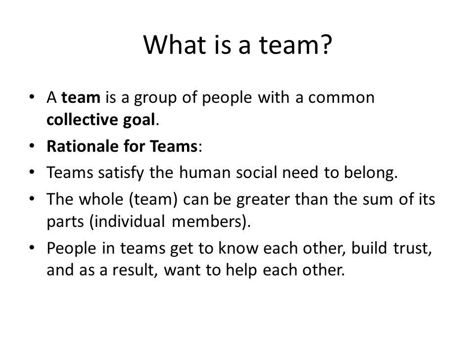 When Do Groups Become Teams.