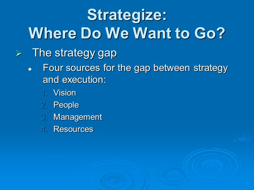 Strategize: Where Do We Want to Go?  The strategy gap Four sources for the gap between strategy and execution: Four sources for the gap between strat