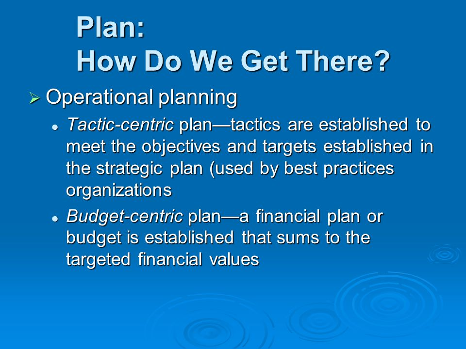 Plan: How Do We Get There?  Operational planning Tactic-centric plan—tactics are established to meet the objectives and targets established in the st