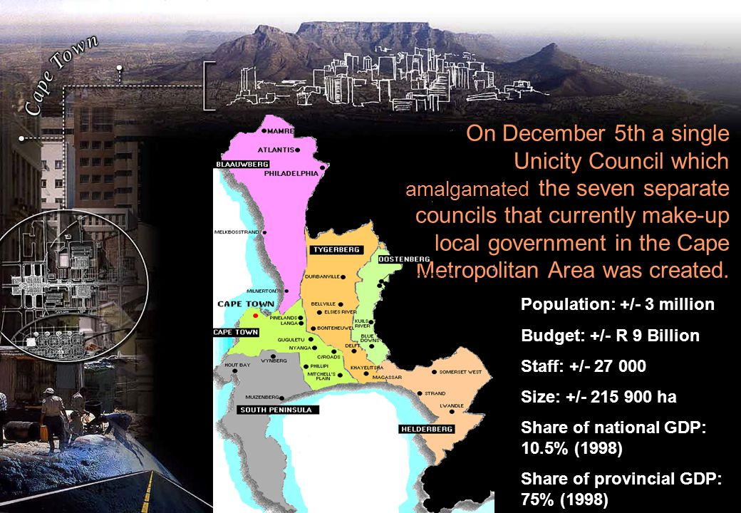 On December 5th a single Unicity Council which amalgamated the seven separate councils that currently make-up local government in the Cape Metropolitan Area was created.