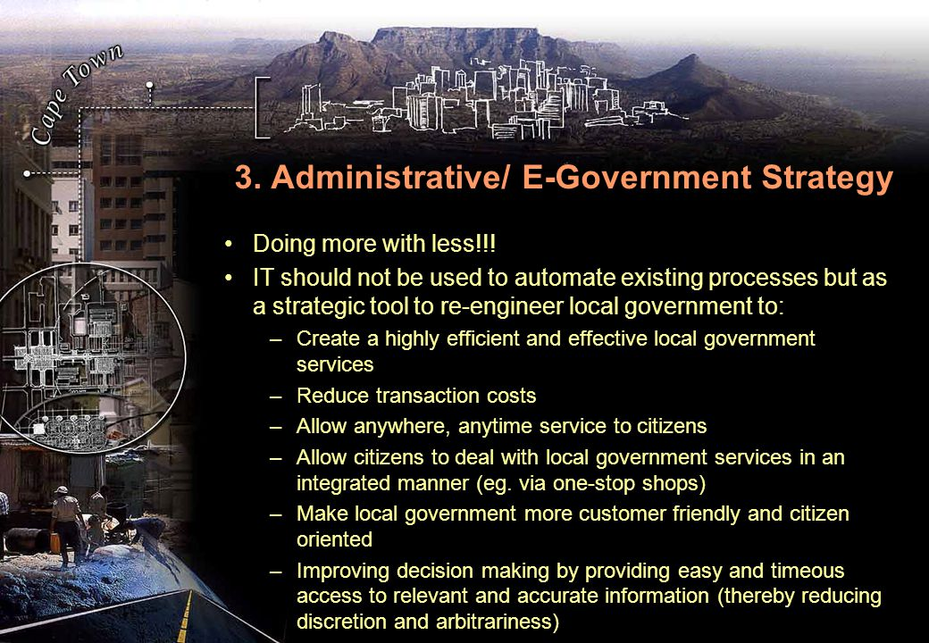 3. Administrative/ E-Government Strategy Doing more with less!!.