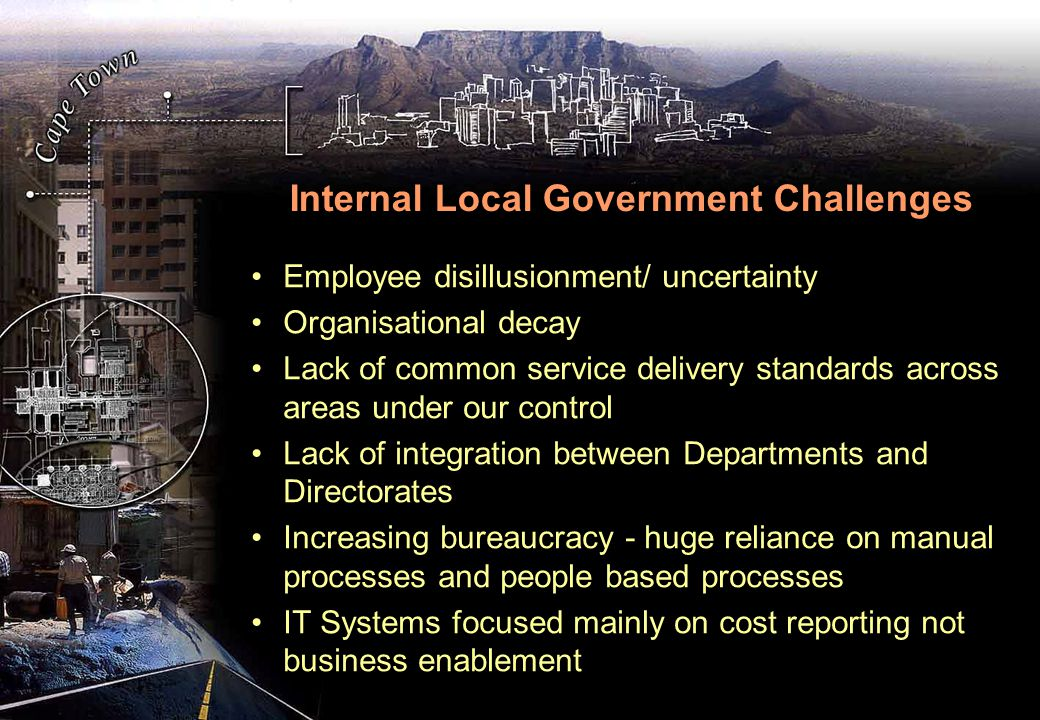 Internal Local Government Challenges Employee disillusionment/ uncertainty Organisational decay Lack of common service delivery standards across areas under our control Lack of integration between Departments and Directorates Increasing bureaucracy - huge reliance on manual processes and people based processes IT Systems focused mainly on cost reporting not business enablement