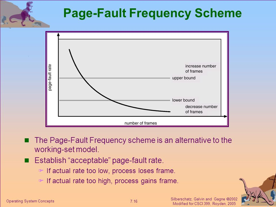 Silberschatz, Galvin and Gagne  2002 Modified for CSCI 399, Royden, 2005 7.16 Operating System Concepts Page-Fault Frequency Scheme The Page-Fault Frequency scheme is an alternative to the working-set model.