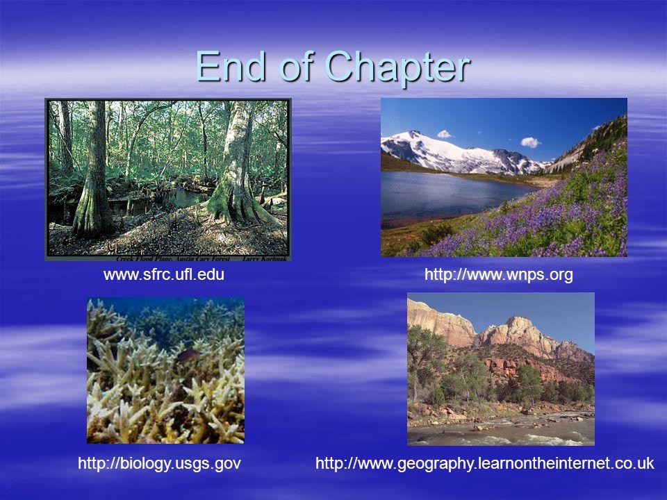 End of Chapter www.sfrc.ufl.edu http://www.wnps.org http://biology.usgs.govhttp://www.geography.learnontheinternet.co.uk