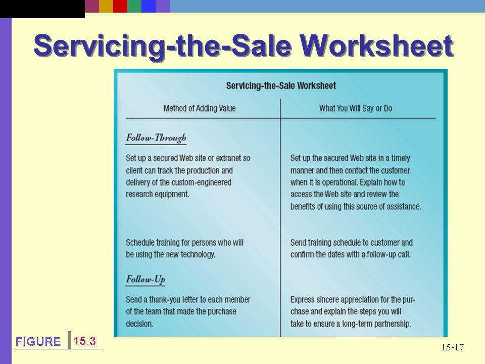 15-17 Servicing-the-Sale Worksheet FIGURE 15.3