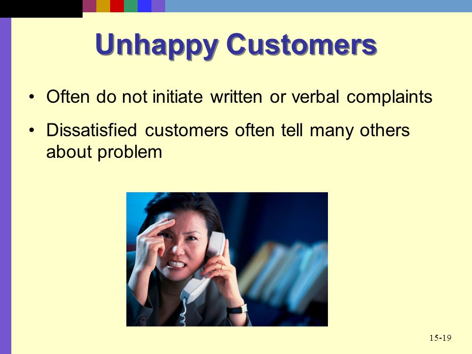 15-19 Unhappy Customers Often do not initiate written or verbal complaints Dissatisfied customers often tell many others about problem