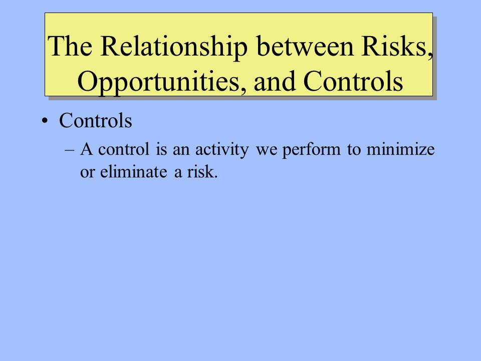 The Relationship between Risks, Opportunities, and Controls Controls –A control is an activity we perform to minimize or eliminate a risk.