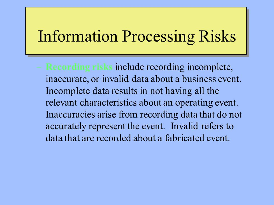 Information Processing Risks –Recording risks include recording incomplete, inaccurate, or invalid data about a business event.