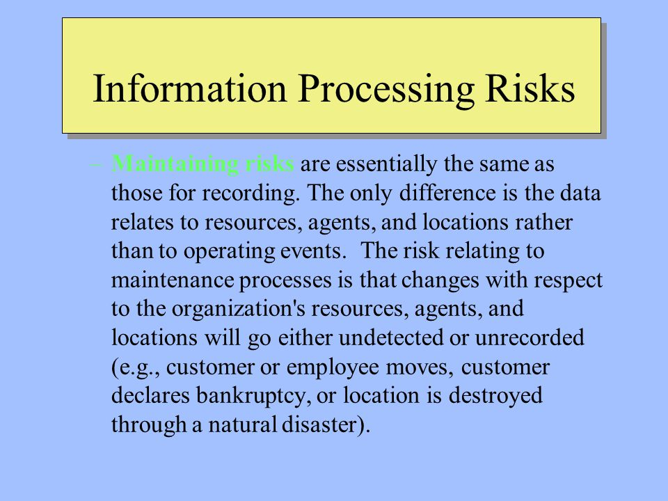Information Processing Risks –Maintaining risks are essentially the same as those for recording.