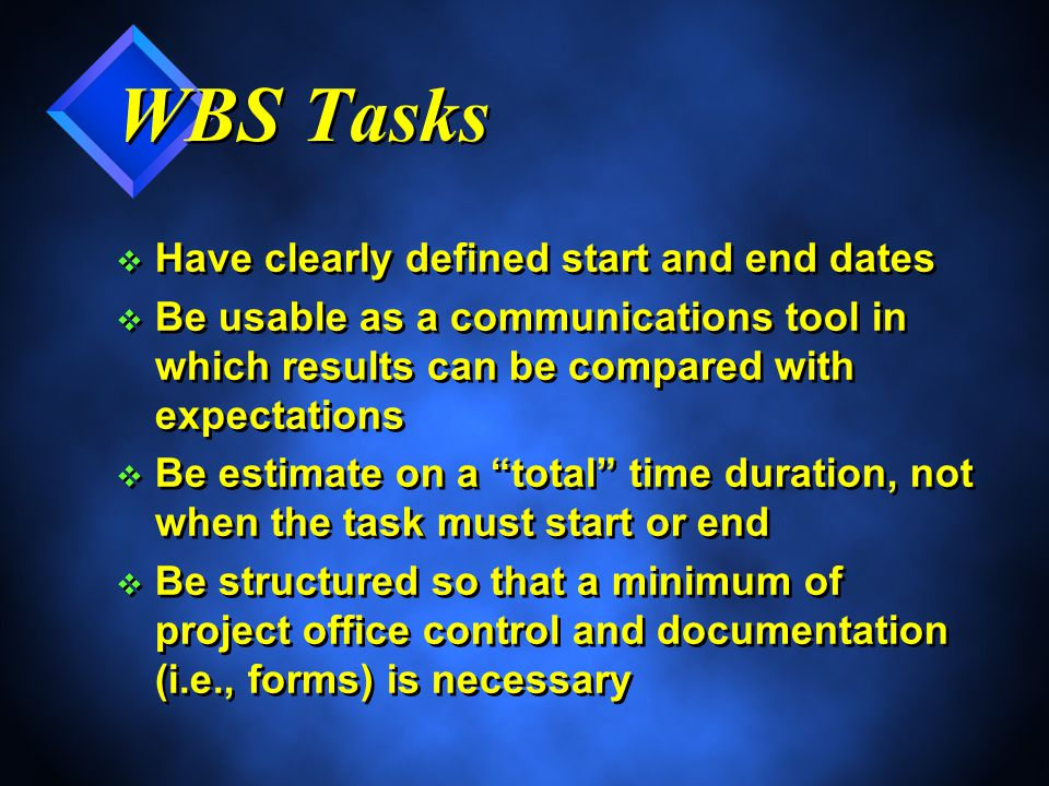 WBS Tasks v Have clearly defined start and end dates v Be usable as a communications tool in which results can be compared with expectations v Be estimate on a total time duration, not when the task must start or end v Be structured so that a minimum of project office control and documentation (i.e., forms) is necessary v Have clearly defined start and end dates v Be usable as a communications tool in which results can be compared with expectations v Be estimate on a total time duration, not when the task must start or end v Be structured so that a minimum of project office control and documentation (i.e., forms) is necessary