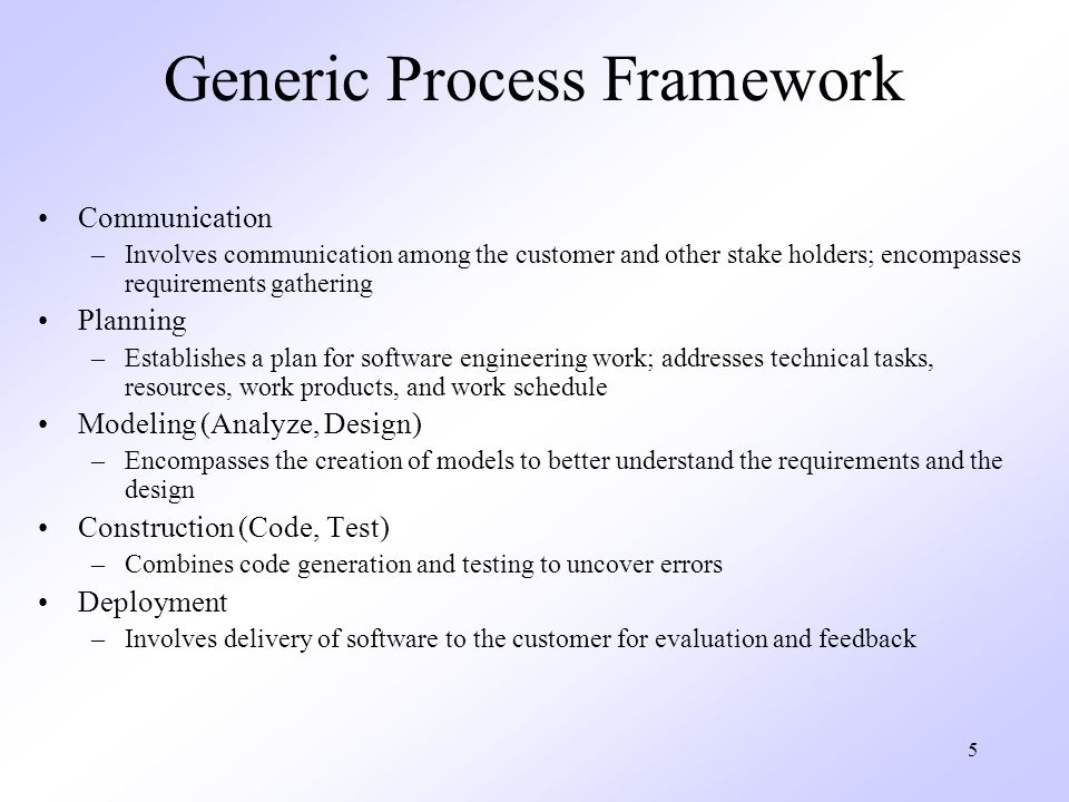 5 Generic Process Framework Communication –Involves communication among the customer and other stake holders; encompasses requirements gathering Plann