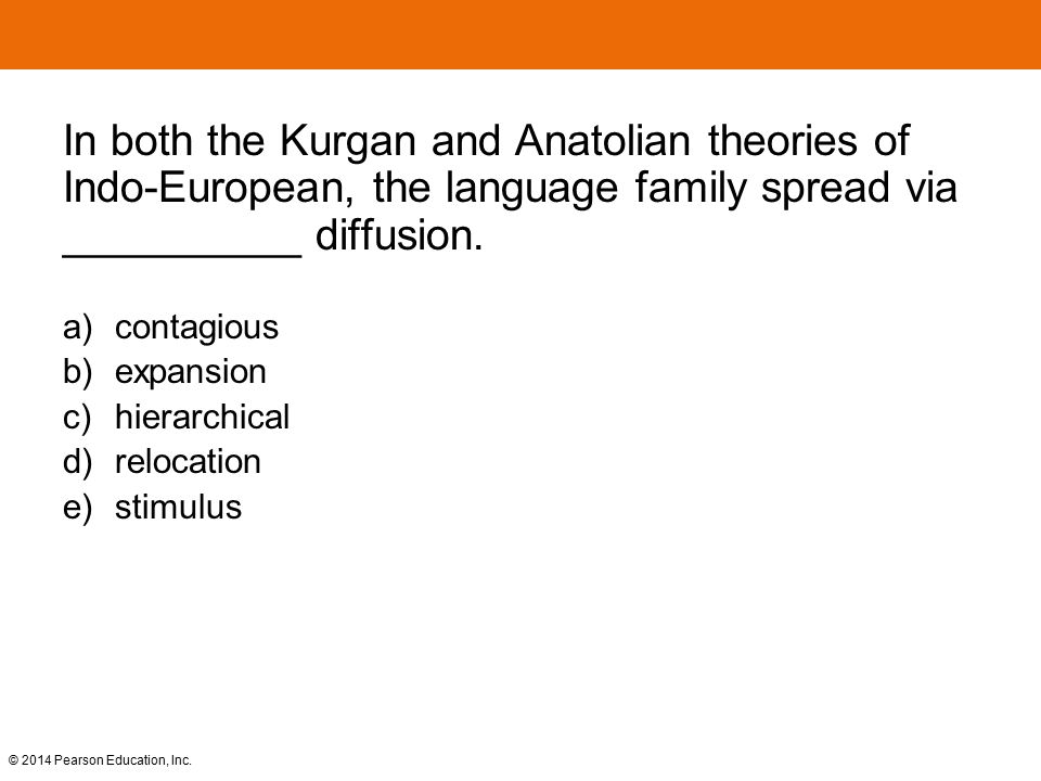 © 2014 Pearson Education, Inc. In both the Kurgan and Anatolian theories of Indo-European, the language family spread via __________ diffusion. a) con