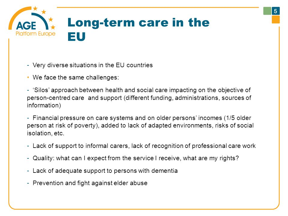 Long-term care in the EU -Very diverse situations in the EU countries We face the same challenges: -'Silos' approach between health and social care im