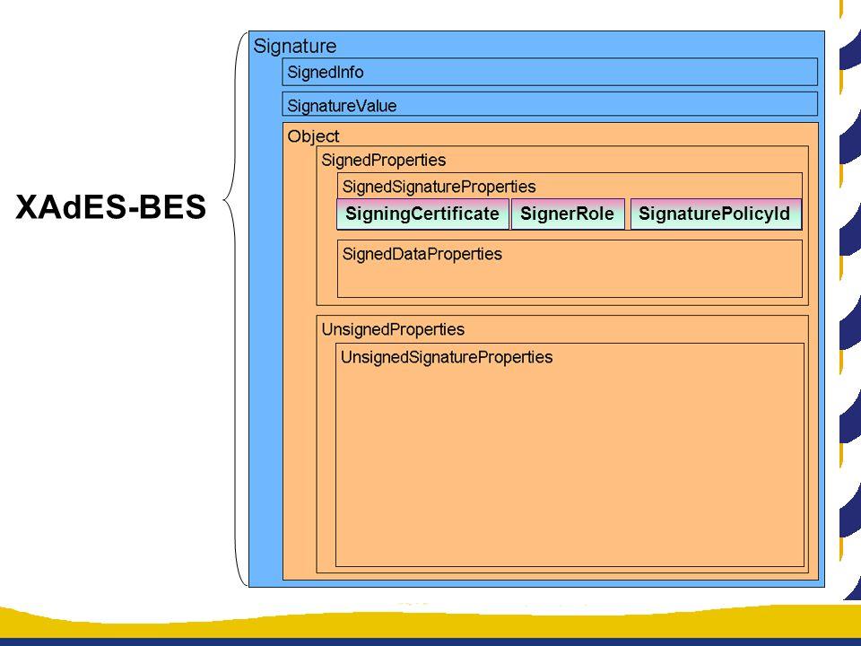 XAdES-BES SigningCertificateSignerRoleSignaturePolicyId