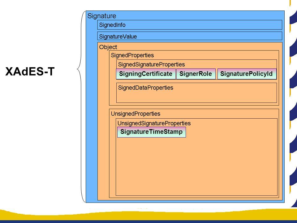 XAdES-T SigningCertificateSignerRoleSignaturePolicyId SignatureTimeStamp