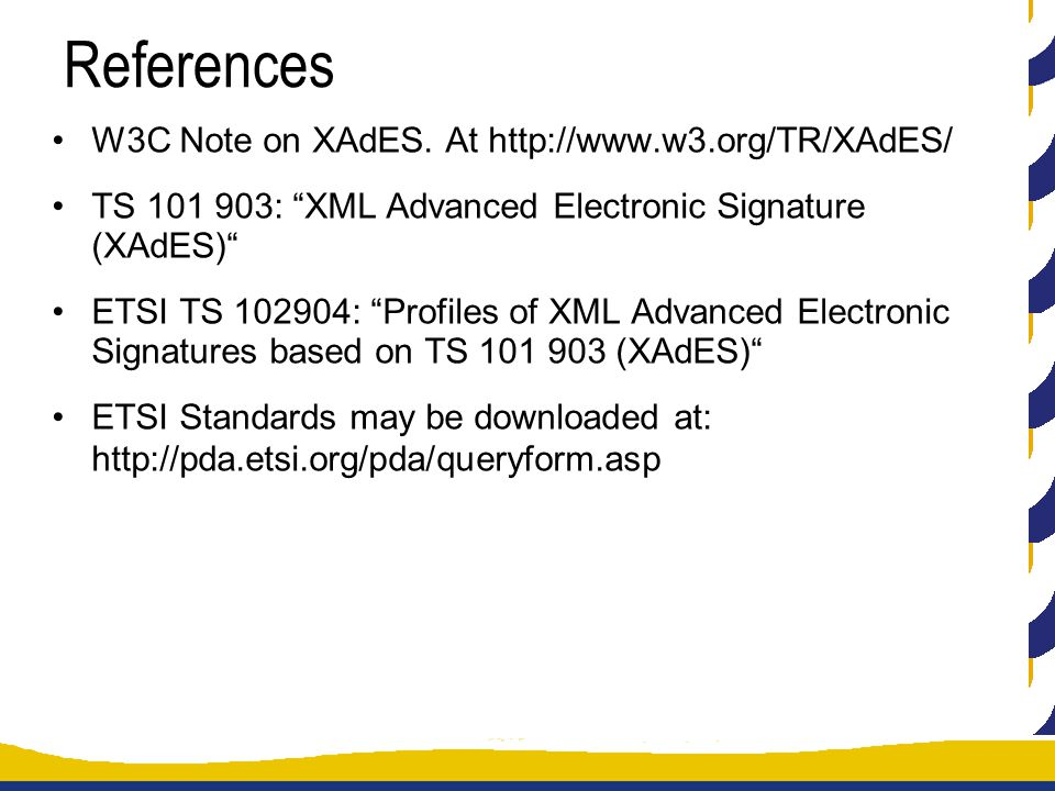 References W3C Note on XAdES.