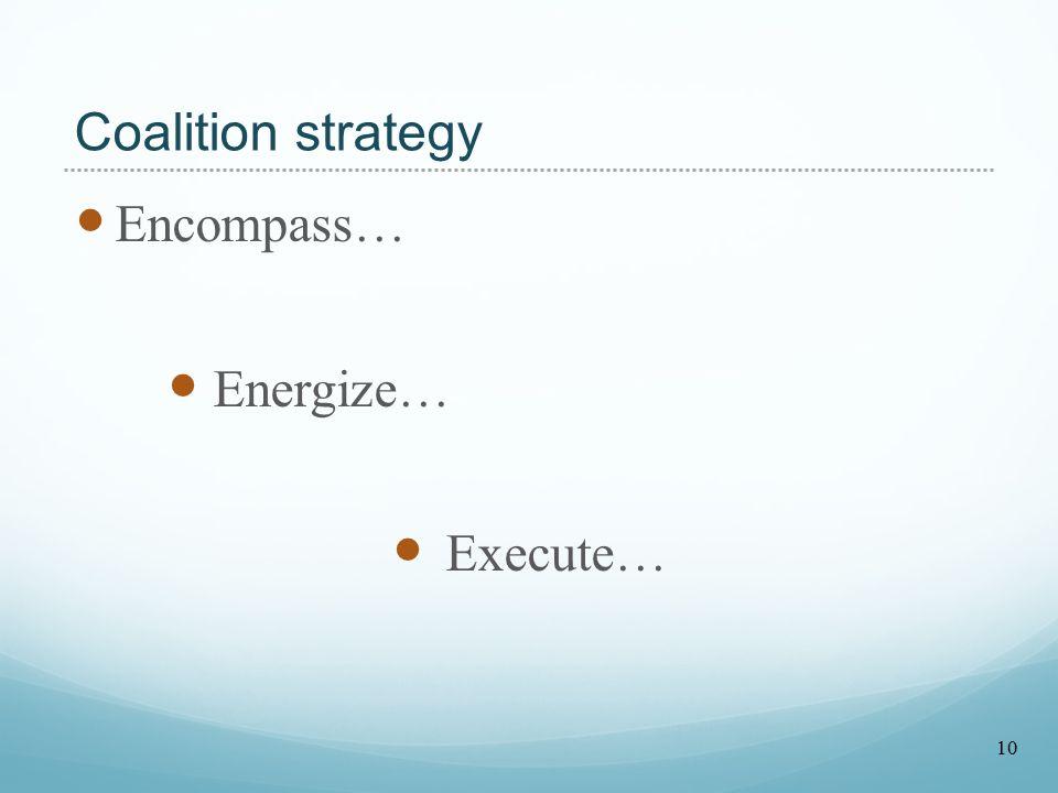 Coalition strategy Encompass… Energize… Execute… 10
