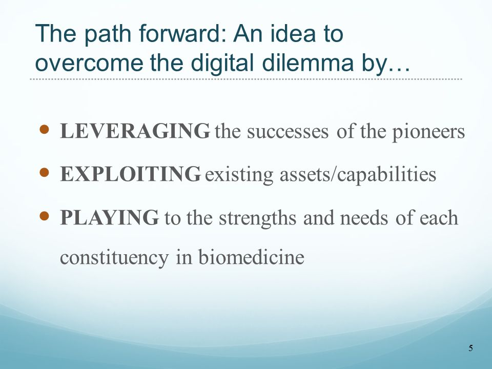 The path forward: An idea to overcome the digital dilemma by… LEVERAGING the successes of the pioneers EXPLOITING existing assets/capabilities PLAYING to the strengths and needs of each constituency in biomedicine 5