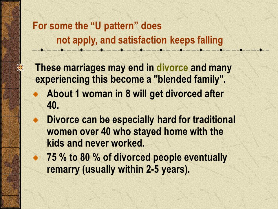 These marriages may end in divorce and many experiencing this become a