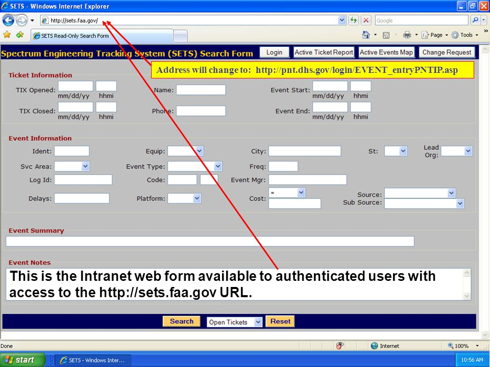15 This is the Intranet web form available to authenticated users with access to the http://sets.faa.gov URL.