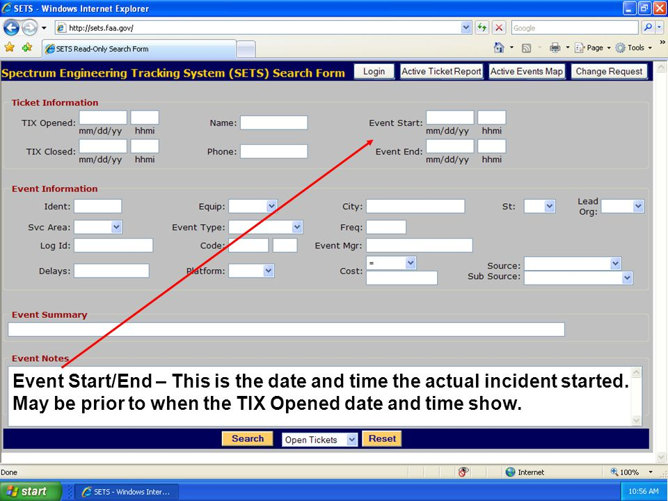 19 Event Start/End – This is the date and time the actual incident started.