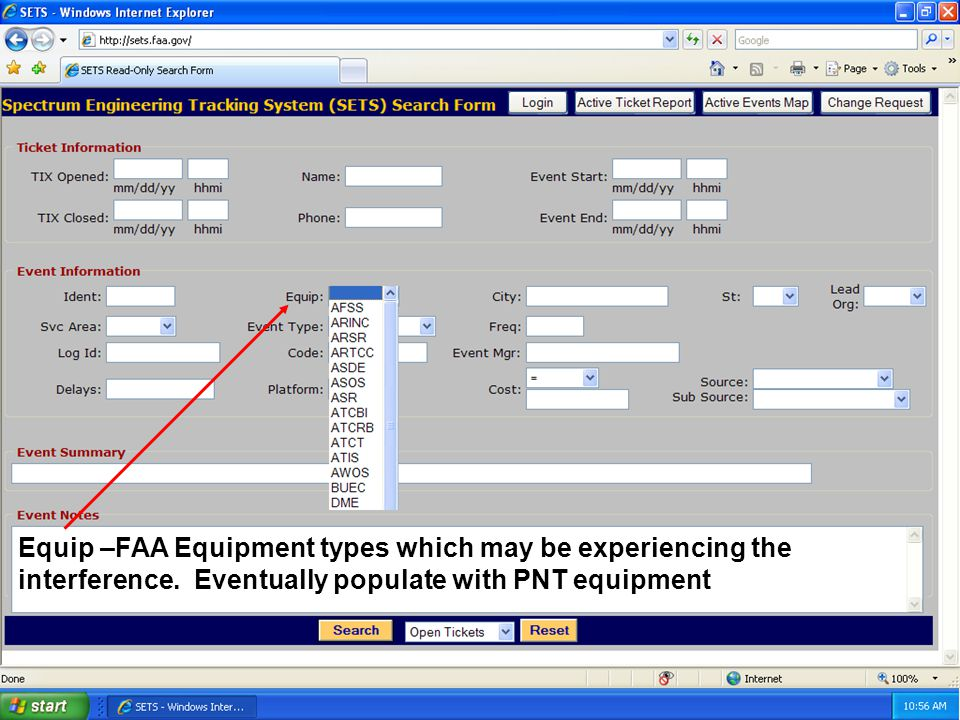 21 Equip –FAA Equipment types which may be experiencing the interference.