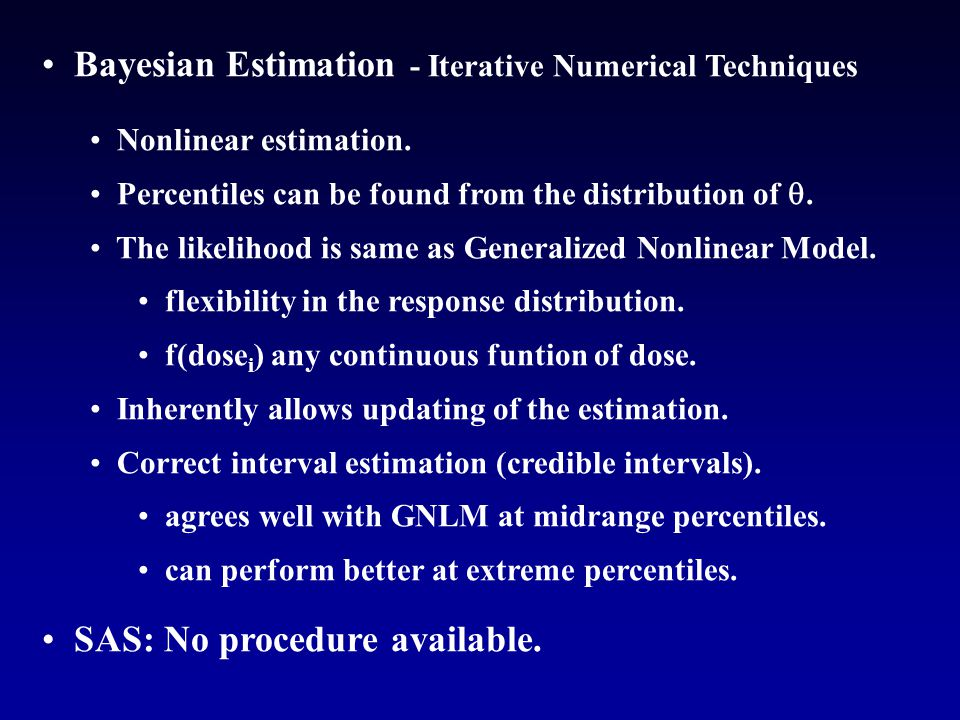 Bayesian Estimation - Iterative Numerical Techniques Nonlinear estimation.