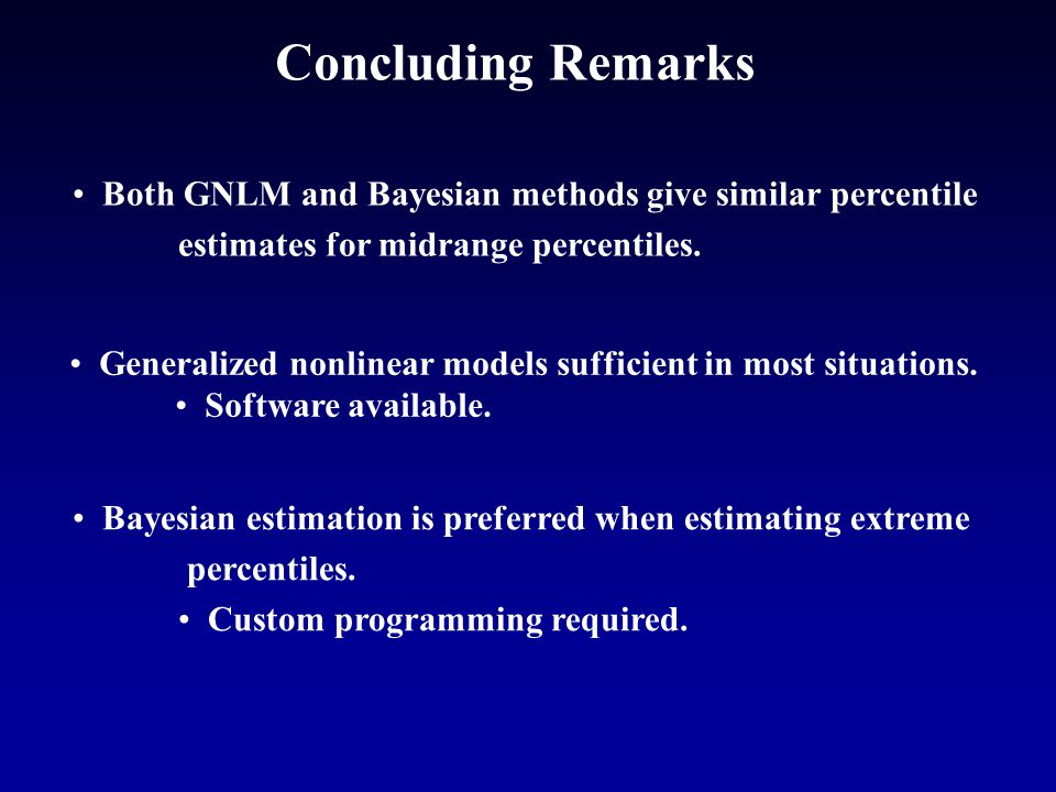 Concluding Remarks Both GNLM and Bayesian methods give similar percentile estimates for midrange percentiles.