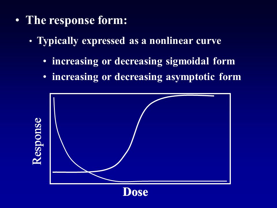 The response form: Typically expressed as a nonlinear curve increasing or decreasing sigmoidal form increasing or decreasing asymptotic form Dose Response Dose Response