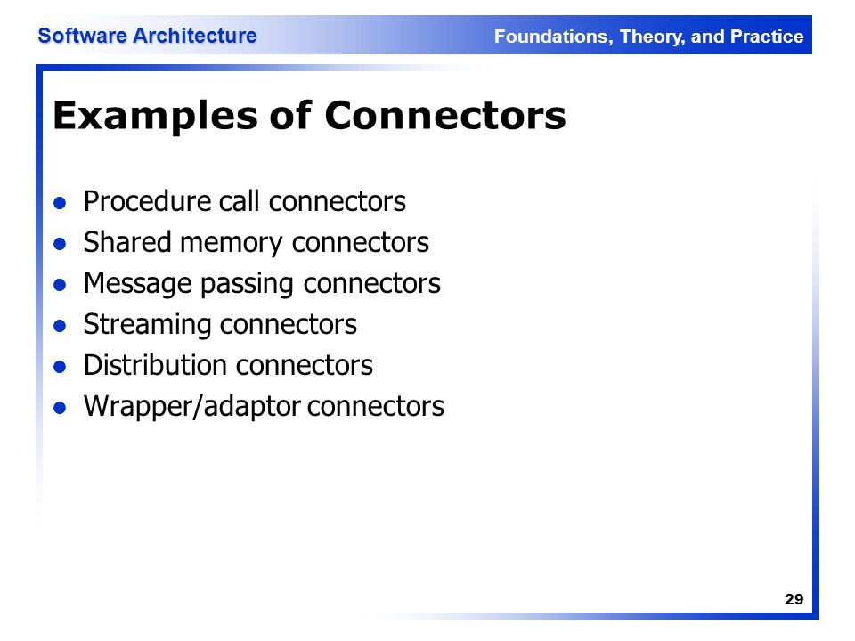 Foundations, Theory, and Practice Software Architecture 29 Examples of Connectors Procedure call connectors Shared memory connectors Message passing c