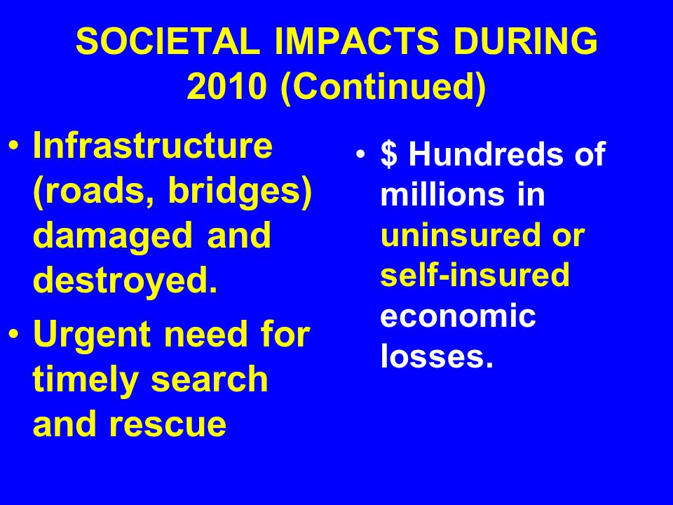 SOCIETAL IMPACTS DURING 2010 (Continued) Infrastructure (roads, bridges) damaged and destroyed.