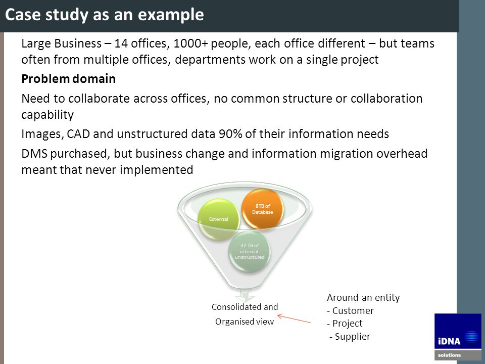 Case study as an example Large Business – 14 offices, 1000+ people, each office different – but teams often from multiple offices, departments work on a single project Problem domain Need to collaborate across offices, no common structure or collaboration capability Images, CAD and unstructured data 90% of their information needs DMS purchased, but business change and information migration overhead meant that never implemented Consolidated and Organised view 32 TB of internal unstructured External 8TB of Database Around an entity - Customer - Project - Supplier