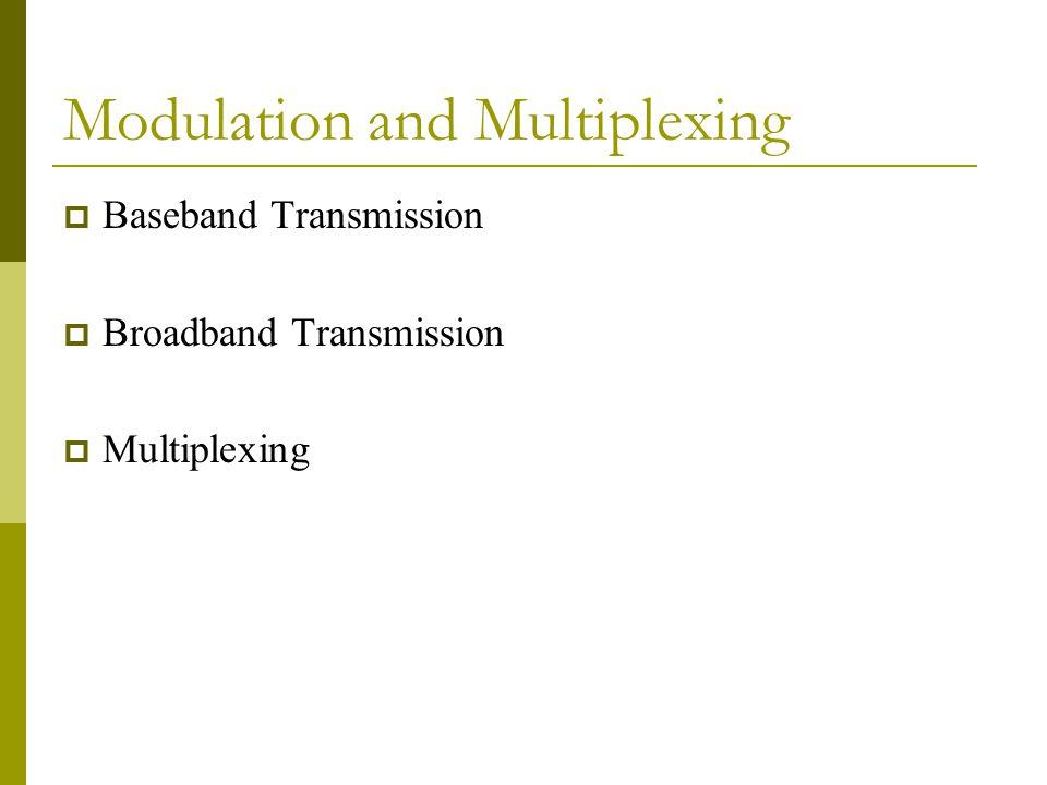 Modulation and Multiplexing  Baseband Transmission  Broadband Transmission  Multiplexing