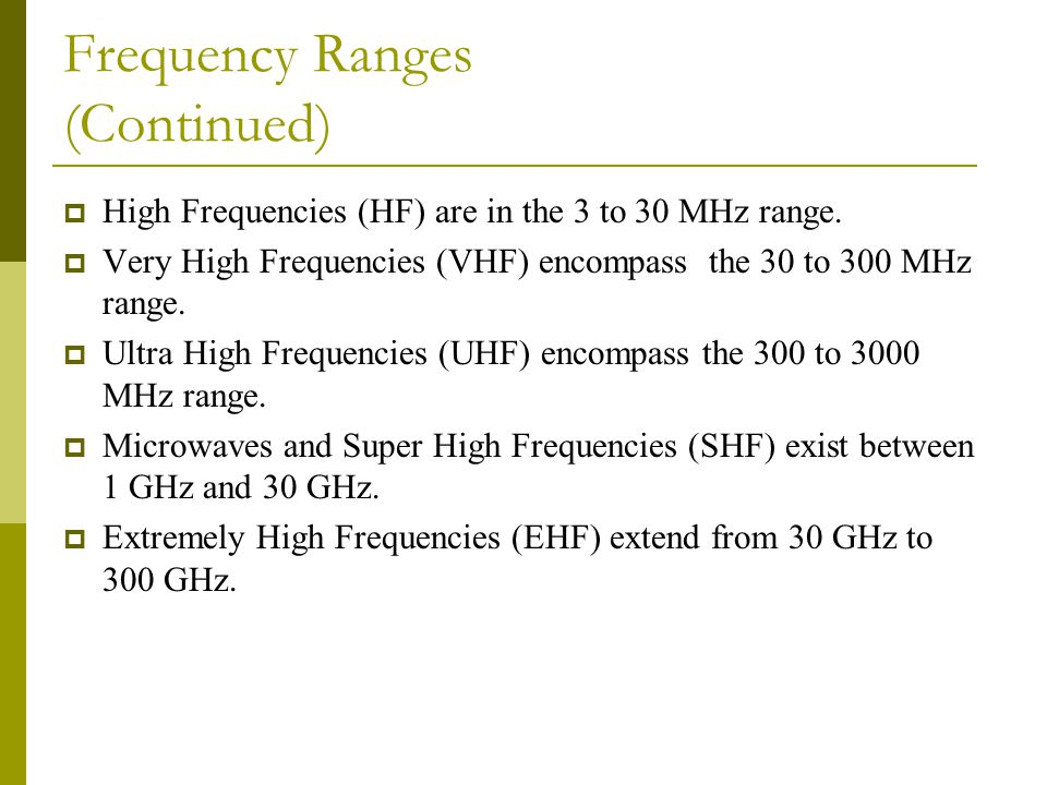 Frequency Ranges (Continued)  High Frequencies (HF) are in the 3 to 30 MHz range.  Very High Frequencies (VHF) encompass the 30 to 300 MHz range. 
