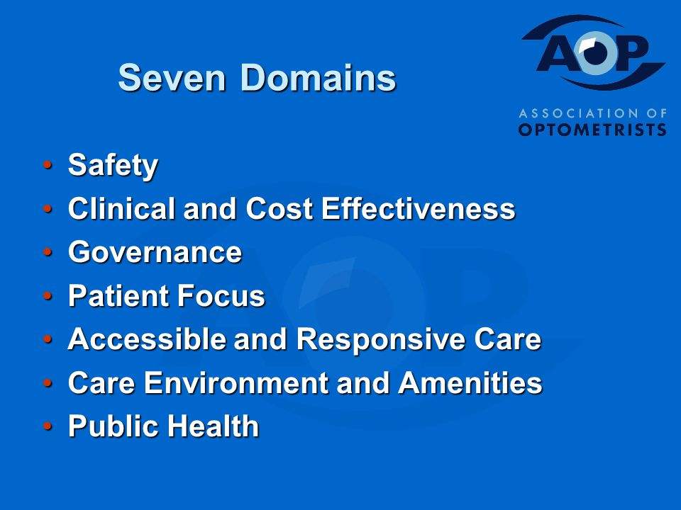 Seven Domains SafetySafety Clinical and Cost EffectivenessClinical and Cost Effectiveness GovernanceGovernance Patient FocusPatient Focus Accessible and Responsive CareAccessible and Responsive Care Care Environment and AmenitiesCare Environment and Amenities Public HealthPublic Health