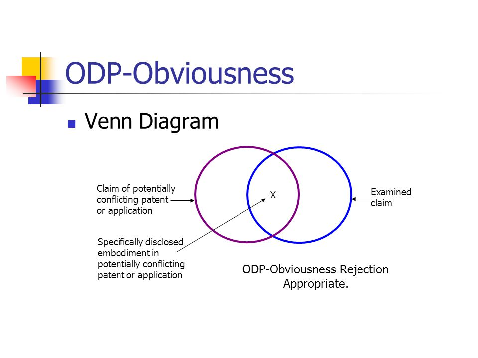 ODP-Obviousness Venn Diagram Examined claim ODP-Obviousness Rejection Appropriate.