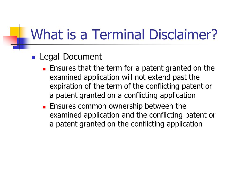 What is a Terminal Disclaimer.