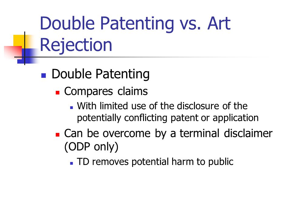 Double Patenting vs.
