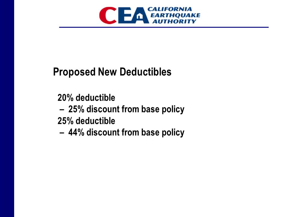 Proposed New Deductibles 20% deductible – 25% discount from base policy 25% deductible – 44% discount from base policy