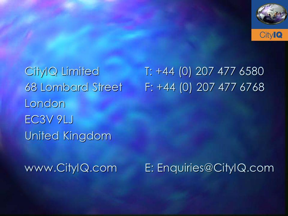 CityIQ Limited 68 Lombard Street London EC3V 9LJ United Kingdom www.CityIQ.com T: +44 (0) 207 477 6580 F: +44 (0) 207 477 6768 E: Enquiries@CityIQ.com