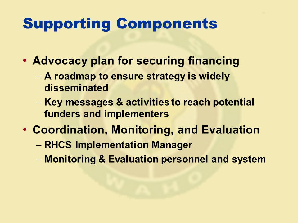 Supporting Components Advocacy plan for securing financing –A roadmap to ensure strategy is widely disseminated –Key messages & activities to reach potential funders and implementers Coordination, Monitoring, and Evaluation –RHCS Implementation Manager –Monitoring & Evaluation personnel and system