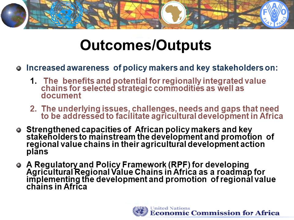 Increased awareness of policy makers and key stakeholders on: 1.