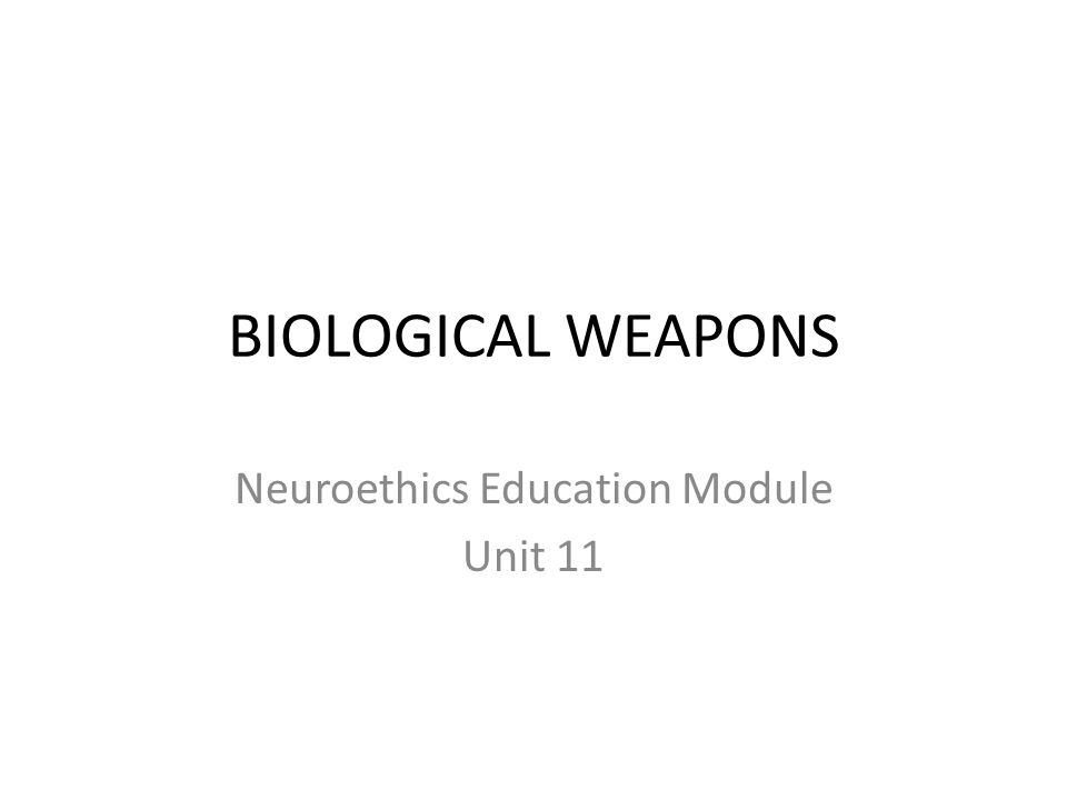 OBJECTIVES This unit first considers the misuse of modern biotechnology in the offensive biological weapons programme of the former Soviet Union in the latter part of the 20 th Century Cold War.