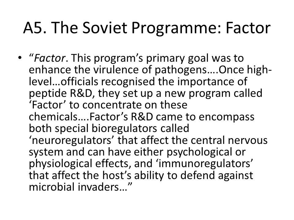A5. The Soviet Programme: Factor Factor.