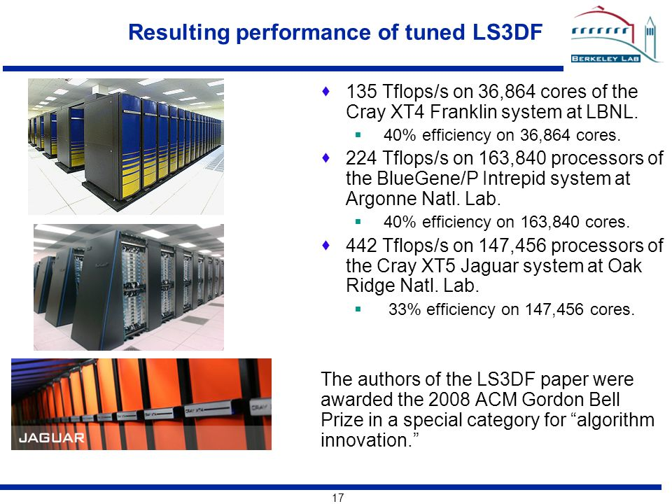 17 Resulting performance of tuned LS3DF  135 Tflops/s on 36,864 cores of the Cray XT4 Franklin system at LBNL.