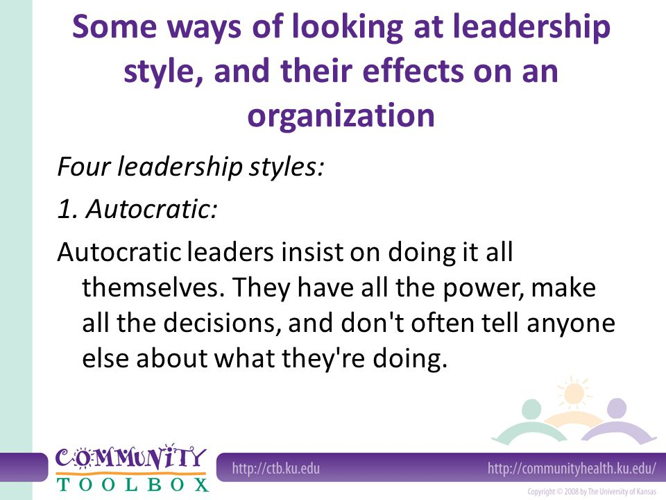 Four leadership styles, cont.2.