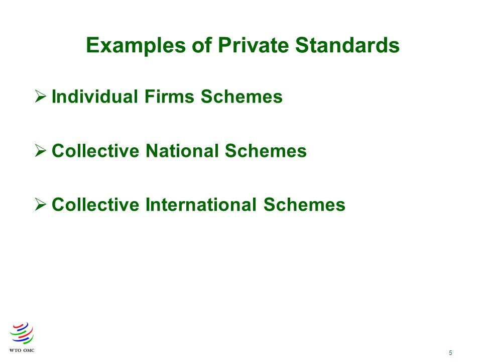 5 Examples of Private Standards  Individual Firms Schemes  Collective National Schemes  Collective International Schemes