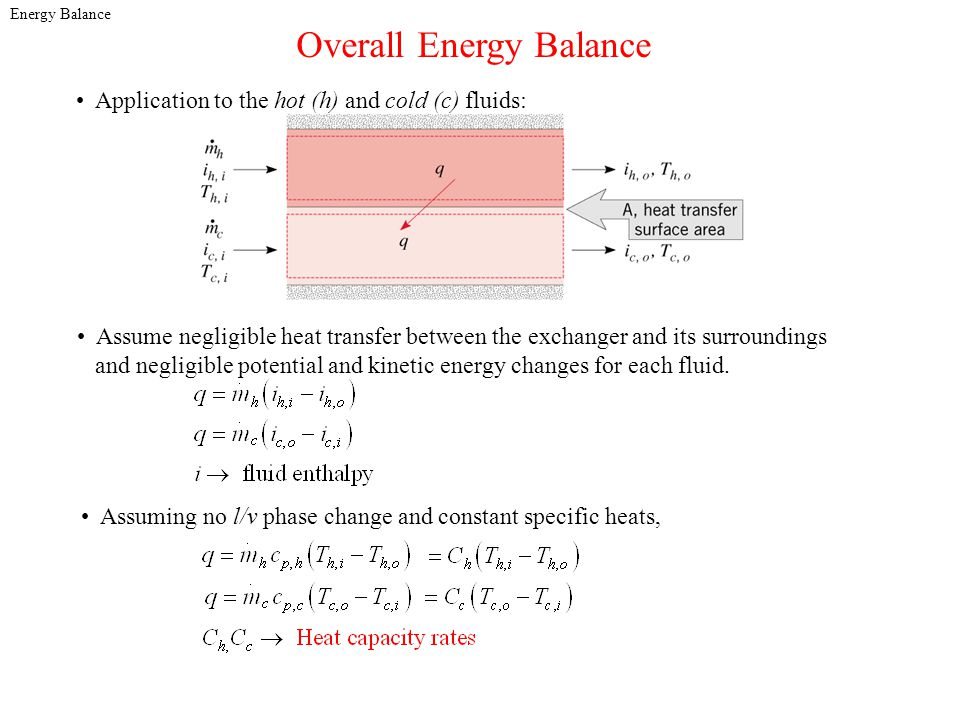 Energy Balance Overall Energy Balance Assume negligible heat transfer between the exchanger and its surroundings and negligible potential and kinetic