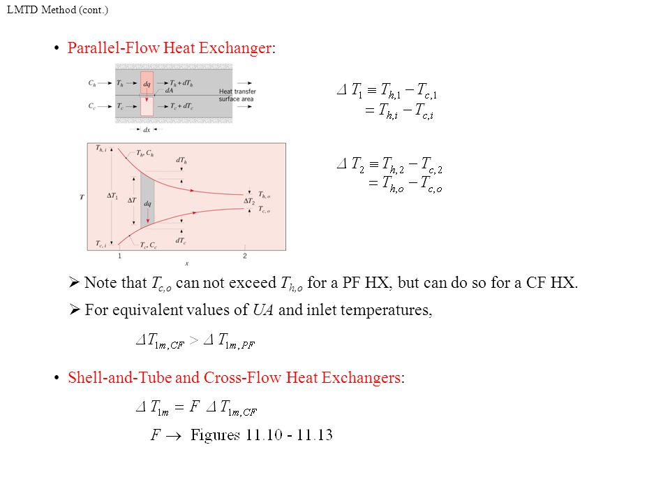LMTD Method (cont.) Parallel-Flow Heat Exchanger:  Note that T c,o can not exceed T h,o for a PF HX, but can do so for a CF HX.  For equivalent valu
